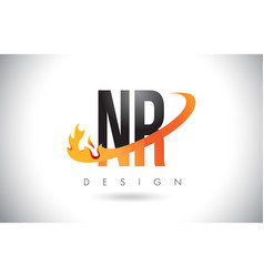 nr n r letter logo with fire flames design and vector image