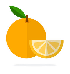 Orange with a stem and leaf and segment orange vector