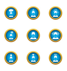 overstrain icons set flat style vector image