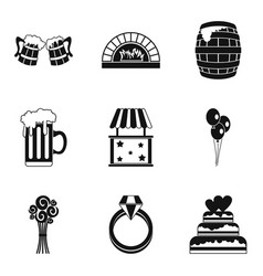 Paradise holiday icons set simple style vector