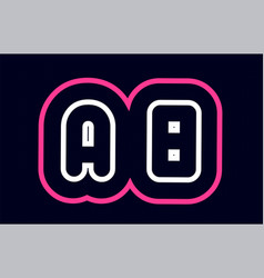 Pink white blue alphabet combination letter ab a vector
