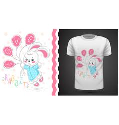 princess rabbit - idea for print t-shirt vector image