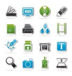 Print industry and graphic design icons vector