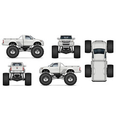 realistic monster truck mock-up vector image