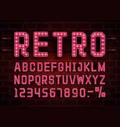 Retro font vintage light sign set vector