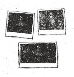 retro photo frame hand drawn sketch set template vector image
