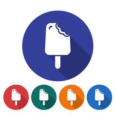 Round icon of bitten ice cream flat style with vector