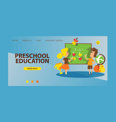 school supplies landing web page boy girl vector image
