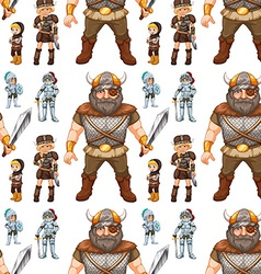 Seamless knight and viking vector image