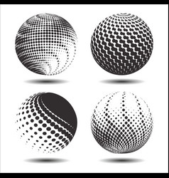 set abstract halftone 3d spheres 22 vector image