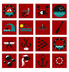 Set of icons sea vector