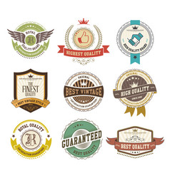 set of labels and badges retro style vector image