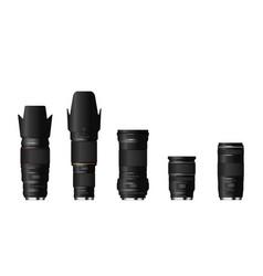 set professional realistic camera lenses vector image