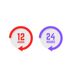 Set twenty-four hours a day buttons vector
