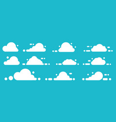 set white icon cloud on blue background vector image