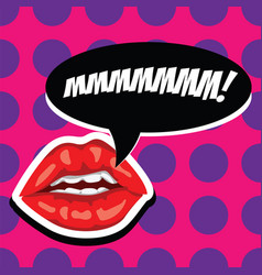 Sexy red lips and open mouth with comic speech vector