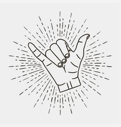 shaka - surfing hand gesture with vintage sunburst vector image