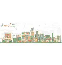 Sioux city iowa skyline with color buildings vector