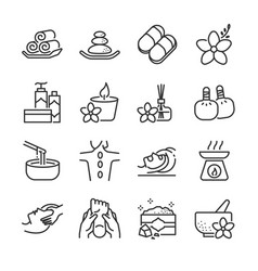 spa line icon set vector image