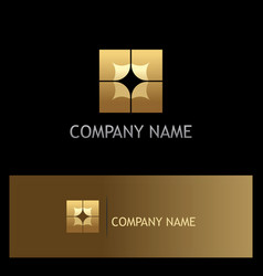square gold geometry company logo vector image