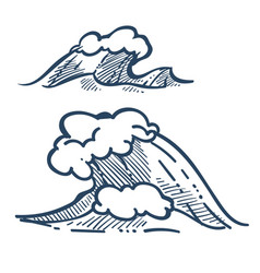 storm sea or ocean wave isolated sketch icons vector image