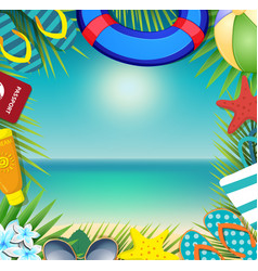 summer vacation beach accessories and palm leaves vector image