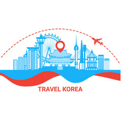 Travel to south korea silhouette poster with vector