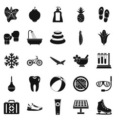 tropical vacation icons set simple style vector image