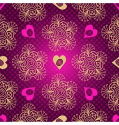 Valentine seamless dotted purple pattern with hear vector image