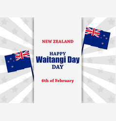 waitangi day february 6 greeting card with the vector image