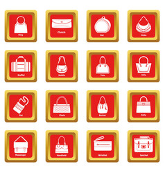 Woman bag types icons set red square vector