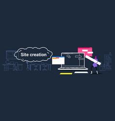 woman working near laptop screen web design studio vector image