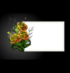 Yellow flower bouquet on white frame with black vector