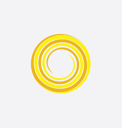 Yellow spiral sun stylized icon background vector