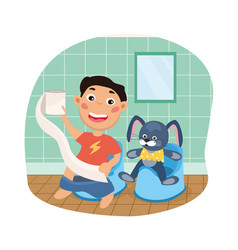 Young boy and his rabbit vector