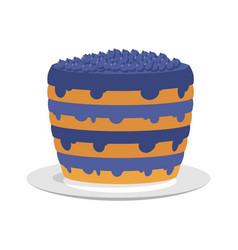 Blueberry pie isolated large berry cake on plate vector