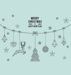 geometric christmas card vector image vector image