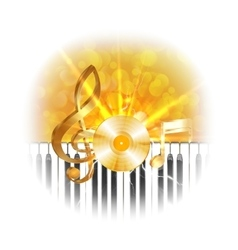 golden musical vinyl plate with treble clef and vector image vector image