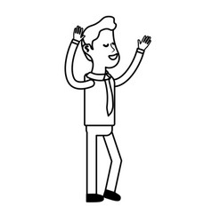 Line nice man with hands up and casual wear vector