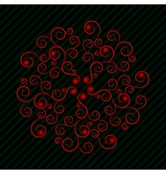 Red curly pattern with green lines vector