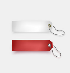 set of white and red tags on white background vector image