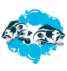 two fishes in the water vector image