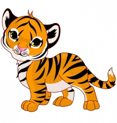 walking baby tiger vector image vector image