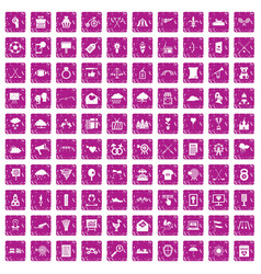 100 arrow icons set grunge pink vector image vector image