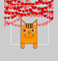 cute cat holding banner love concept greeting vector image