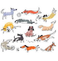 hand drawn doodle cute dogs set with plaing pets vector image vector image