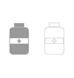 Medicine bottle grey set icon vector