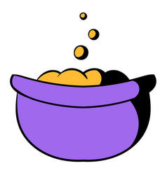 witch cauldron with potion icon cartoon vector image