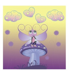 A little butterfly on mushroom vector image