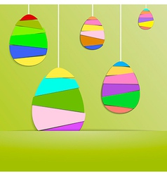 Green Paper Card with Striped Easter Eggs vector image